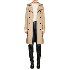 Saint Laurent Women's Twill Belted Trench Coat ($2,990) ❤ liked on Polyvore featuring outerwear, coats, fur-lined coats, beige coat, military trench coat, lined trench coat and button coat