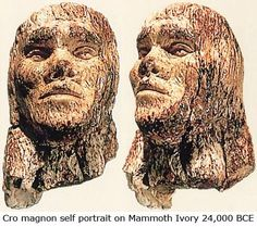 This 8 cm high carving of a human face on mammoth ivory is 26,000 years old, and was found in former Czechoslovakia. The object is the oldest portrait of a human being yet discovered. The head appears to have been fastened to a staff or baton.