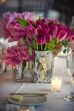 Mercury glass and pink flowers.