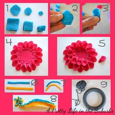 Felt dahlia.  Good idea for how to make a fondant dahlia as well... http://bit.ly/Hra9NG