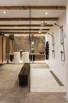 The large bathroom is an impressive 24 square metres. Large Bathrooms, Dream Bathrooms, Amazing Bathrooms, Small Bathroom, Large Bathroom Design, Luxury Bathrooms, Master Bathroom, Bathroom Colors, White Bathroom