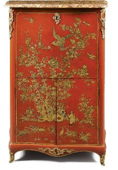 A Gilt Bronze Mounted Red and Gilt Vernis Martin Secretarie A Abattant Stamped Delorme Louis XV Mid 18th Century  Sothebys, Fine Furniture Tapestry and Carpets, London, Sept 20th