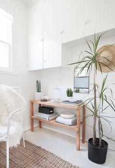 bedroom corner with plants