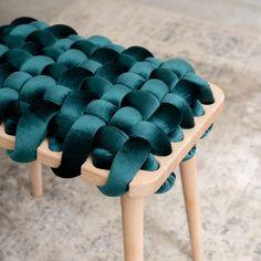 Knots Studio: Woven Stool In Pink Blush Velvet Furniture Decor, Furniture Design, Plywood Furniture, Modern Furniture, Bedroom Stools, Velvet Stool, Modern Stools, Weaving Techniques, Green Velvet