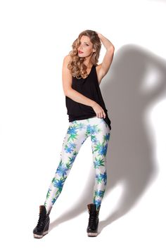 Honolulu White and Blue Leggings (Made To Order) by Black Milk Clothing