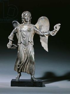 Etruscan bronze statue of the winged Vanth; angel of the hades holding a serpent, circa 300BC British museum