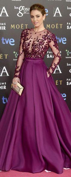 Purple Evening Dresses Vestidos De Noche Largos 2016 Long Formal Long Evening Gowns Custom Burgundy Sheer Long Sleeves Celebrity Party Dress Formal Wear Dresses Formal Wear For Ladies From Yoyobridal, $114.82| Dhgate.Com