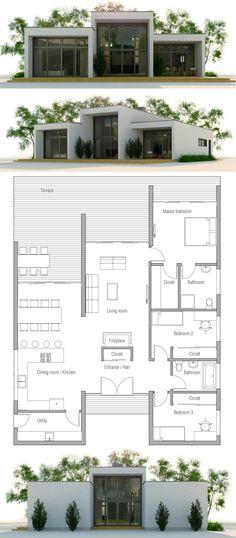 Modern Minimalist House Plan, Modern Architecture, Home Plan, House Plan Container House Design, Small House Design, Modern House Design, Container Houses, Small House Floor Plans, Modern House Plans, Luxury Floor Plans, Modern Minimalist House, Minimalist Design