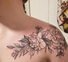 aac82cde6 Floral Shoulder Piece - Cutty Bage, Hollow Moon Tattoo, Boone NC : tattoos  Pretty