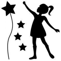 Stickers La petite fille et les étoiles Machine Silhouette Portrait, Silhouette Cameo, Silhouette Images, Man And Woman Silhouette, Girl Silhouette, Stencil Vinyl, Stencils, Easter Colouring, Coloring Books