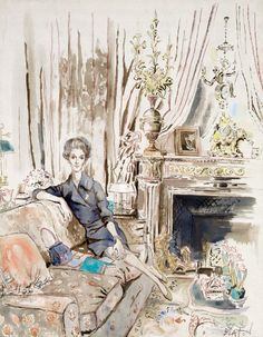 Babe Paley - watercolor by Cecil Beaton. I love illustrations and watercolors. Enough to create a board dedicated to them. Would love to have a watercolor hanging of someone in my family hanging in my home. Maybe even of me one day.