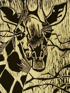 Original Giraffe Woodblock Print | Gina Hoppe