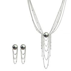 SCHOEFFEL | Tahiti cultured pearls interact perfectly with cascading chains of 18-carat white gold interwoven with diamonds. Available as a necklace and earrings | {ʝυℓιє'ѕ đιåмσиđѕ&ρєåɾℓѕ}