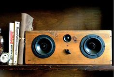 Handmade, reclaimed wood home audio systems by Salvage Audio