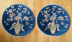 """Old Pair Round Chinese Peking Feti Small Rugs Chair/Stool Mats 18"""" Oriental Blue"""