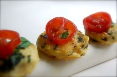 Polenta bites with tomato. Can use ready-made polenta, too!