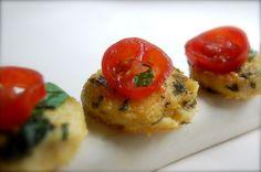 basil butter polenta bites w/ fresh chopped tomatoes