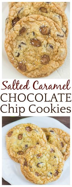 In just one big, delicious bite, these Chewy Salted Caramel Chocolate Chip Cookies will cure all your sweet and salty cravings! Everyone has their favorite chocolate chip cookies recipe! This one is thin and chewy with crispy edges. Hopefully it will become your perfect chocolate chip cookies recipe too! | #cookies #saltedcaramel #chocolatechipcookies #baking #dlbrecipes
