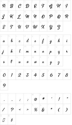 UVF MetroScript font character map
