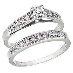 14K White Gold .25 Carat Cathedral Qpid Diamond Bridal Ring Set #weddingring #bridalring #wedding