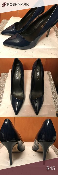 NWT Aldo genuine leather navy blue pumps Beautiful navy blue color. genuine leather. It was a gift that was not my size. There is a not noticeable scratch inside the shoe next to the size pictured. Classy and elegant look. 4 inch heels. Size: 8 Aldo Shoes Heels