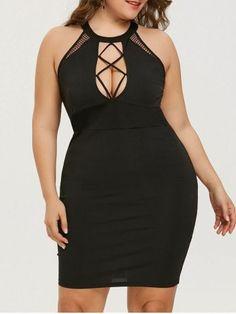 Plus Size Cut Out Sexy Club Party Dress Women Black O Neck Sleeveless  Bodycon Mini Dresses Vestidos Summer Dress Robe e97883251f64