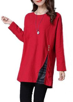 Long Sleeve Slit Design Round Neck Red Blouse on sale only US$28.27 now, buy cheap Long Sleeve Slit Design Round Neck Red Blouse at lulugal.com
