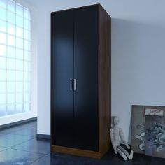 Wardrobe black #gloss #walnut 2 door robe hanging rail bedroom furniture #range,  View more on the LINK: http://www.zeppy.io/product/gb/2/191935613011/