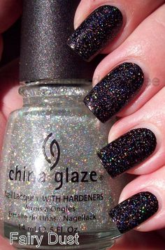 China Glaze's Fairy Dust over black