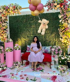 Sreeja Konidela's Baby Shower Photos – South India Fashion - Sreeja Konidela's Baby Shower Photos – South India Fashion - Naming Ceremony Decoration, Wedding Hall Decorations, Backdrop Decorations, Tulle Backdrop, Balloon Backdrop, Backdrops, Baby Shower Balloon Decorations, Baby Shower Backdrop, Baby Shower Balloons