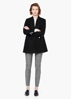 Double-breasted wool coat - Women | MANGO
