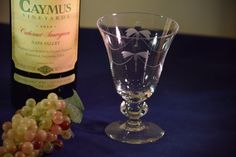 Vintage Etched Crystal Wine Cocktail Glasses by Antiquevintagefind