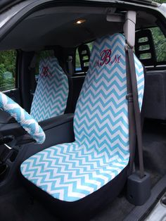 Reserve for Antonia Brewer 1 Set of Girly Blue Chevron Print Seat Cover and Steering Wheel Cover Custom Made.