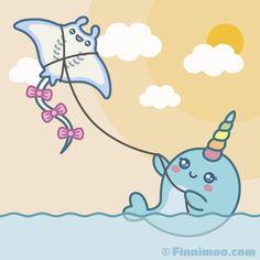 Kawaii Narwhal, Cute Narwhal, Cute Octopus, Funny Animated Cartoon, Cartoon Pics, Cute Cartoon Wallpapers, Whale Cartoon Drawing, Cartoon Drawings, Looks Party