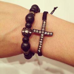 Cross macrame bracelet set by AroundMyWrist on Etsy, 19.25