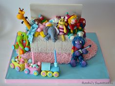 This Is A Toy Box Specially Made For Twin Boy And Girl Who Turned Vanilla Sponge Cake With Buttercream Filling All The Decorations On Here Are Edible