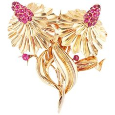 Mellerio Ruby Gold Flower Double Clip Brooch. A Retro double clip flower brooch…