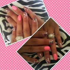 hot pink, silver & leopard nails