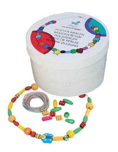 New Classic Toys - Houten kralen in box -100 gr.