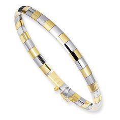 5mm Brick-Tile Omega Bangle Bracelet, 14K Two-Tone Gold