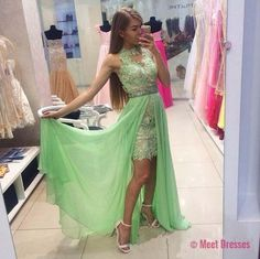 Sage Prom Dresses,Beading Evening Gowns,Modest Formal Dress,Beaded Prom Dresses,2018 Fashion Evening Gown,Long Evening Gowns,Chiffon Party Dress PD20183239