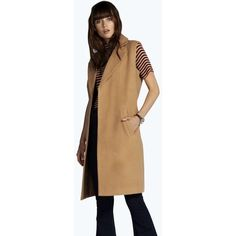 Boohoo Megan Sleeveless Camel Coat ($70) ❤ liked on Polyvore featuring outerwear, coats, camel, camel coat, flare coat, long sleeve coat, sleeveless coat and beige coat