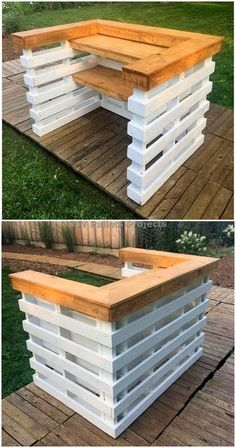 Creative And Awesome DIY Pallet Projects and IdeasYou can find Pallet bar and more on our website.Creative And Awesome DIY Pallet Projects and Ideas Wood Pallet Bar, Diy Pallet Bed, Palet Bar, Diy Pallet Projects, Wooden Pallets, 1001 Pallets, Outdoor Pallet Bar, Recycled Pallets, Pallet Diy Decor