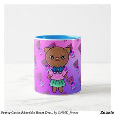 Pretty Cat in Adorable Heart Dress & Pastel Pinks Two-Tone Coffee Mug Cat Coffee Mug, Cat Mug, Pastel Roses, Pastel Pink, Cute Store, Little Kitty, Purple Hues, Pink Cat, Heart Dress