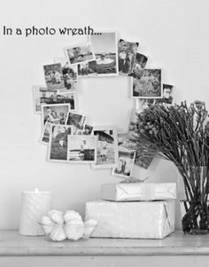 25 Examples Of How To Display Photos On Your Walls...like wreath idea to display old black and white family photos