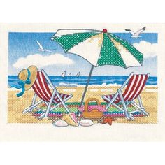 Amazon.com: Dimensions Needlecrafts Stamped Cross Stitch, Day At The Beach: Arts, Crafts & Sewing