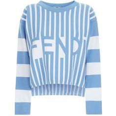 Fendi Multi-Stripe Logo Sweater ($685) ❤ liked on Polyvore featuring tops, sweaters, stripe top, long sleeve tops, drape sweater, long length sweaters and blue top