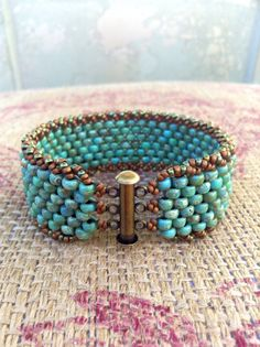 Peyote Stitch Czech Bracelet ~ Colorful Turquoise Beaded Cuff ~Bohomian Country Rustic Everyday Fashion ~ Peyote Chic by Country Chic Charms