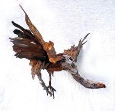 Vulture in flight by Tony Fredriksson, driftwood openskywoodart.com