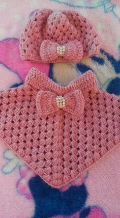 Best 12 Hand crochet baby poncho and hat – SkillOfKing. Crochet Baby Shawl, Crochet Poncho Patterns, Baby Girl Crochet, Crochet Baby Clothes, Love Crochet, Baby Knitting Patterns, Hand Crochet, Knit Crochet, Crochet Stitches